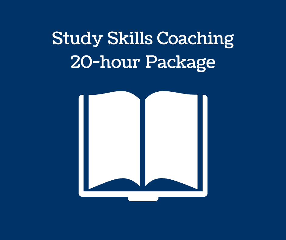 Book icon and text: Study Skills Coaching 20-hour Package