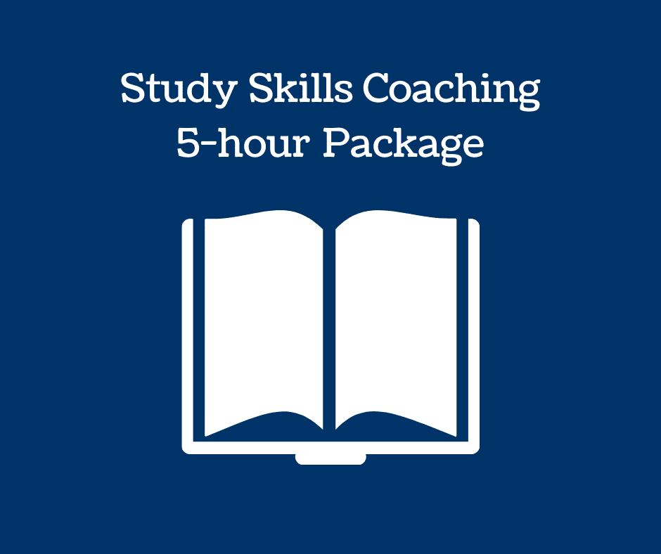 Book icon and text: Study Skills Coaching 5-hour Package