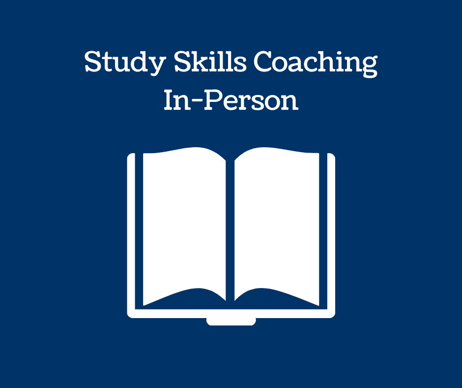Book icon and text: Study Skills Coaching In-Person