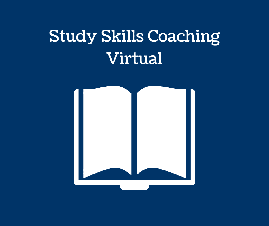 Book icon and text: Study Skills Coaching Virtual